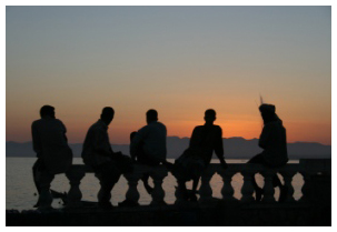 Men by the sea silhouette